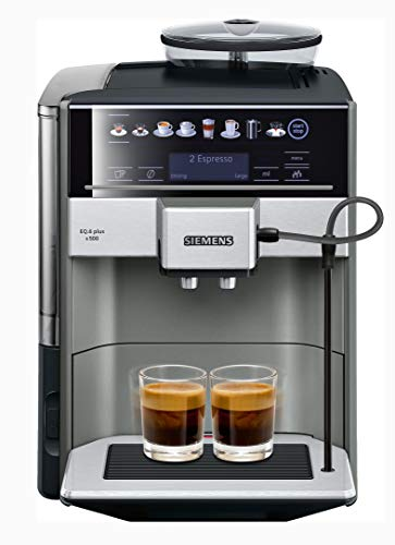 - Siemens EQ.6 plus s500 super-automatic espresso coffee machine with double boiler, grinder, OneTouch DoubleCup System, maker for brewing espresso, cappuccino, latte. TE655203RW