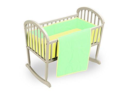 Baby Doll Bedding Reversible Cradle Bedding, Mint/Yellow