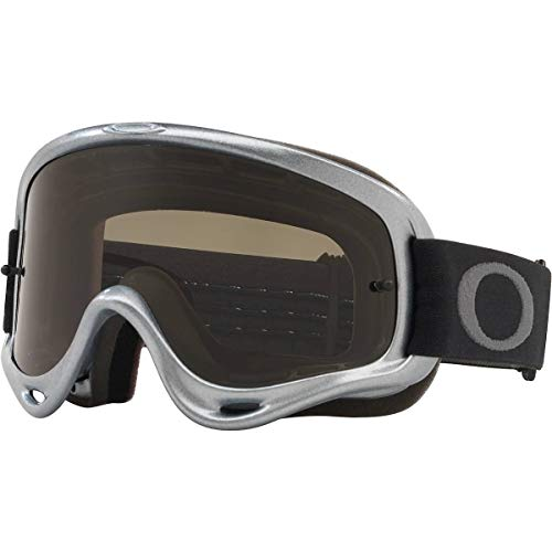 Oakley O Frame MX Adult Off-Road Motorcycle Goggles - Silver Chrome/Dark Grey & Clear