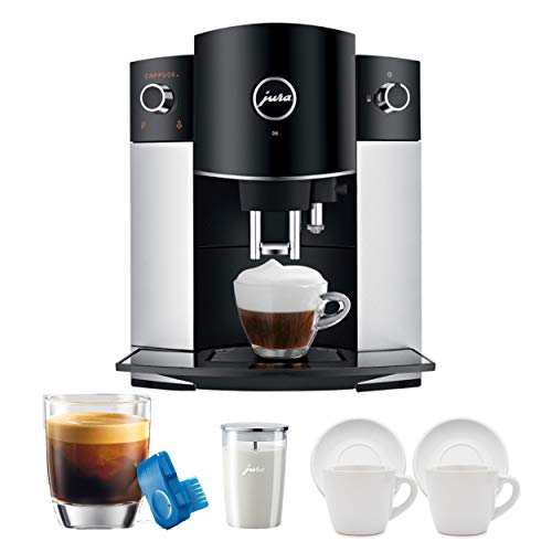 Jura D6 Platinum Super-Automatic Espresso Machine 15216 Bundle Includes Jura Smart Connect Experience, Jura Milk Container and Set of Cups (5 Items)