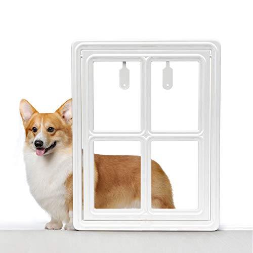 (Enjoying White Magnetic Door Pet Window Screen Flap Door Doggie Door Cat Flaps With Magnetic Automatic Lock Dogdoor Large: 12W x 16H