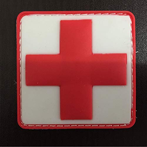 SpaceCar 3D PVC Rubber Medic Red Cross Tactical Morale Badge Patch 2.36