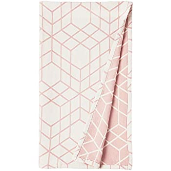 Rivet Modern 100% Cotton Geometric Design Throw Blanket - 60 x 50 Inch, Blush