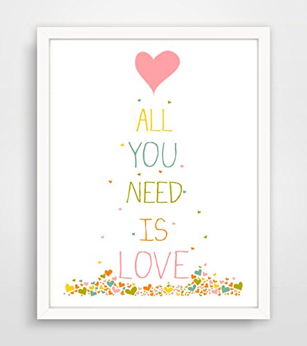All You Need is Love Confetti Hearts Print **Frame Not Included**