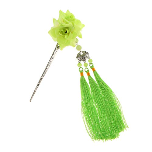 Sweet Fringed Tassel Hairpin Hair Stick Kanzashi Vintage for Hanfu Kimono (Color - Green) ()