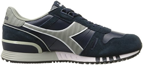 Diadora Mens Titan Leather L/S Sports Shoe White/Blue Caspian Sea GOCzP0