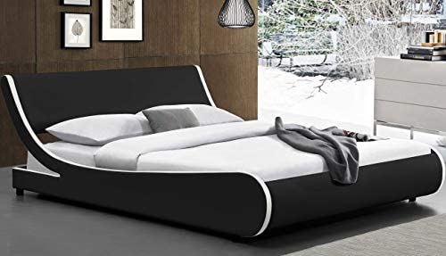 Amolife Modern Queen Platform Bed Frame with Adjustable Headboard,Mattress Foundation Deluxe Solid Faux Leather Bed Frame with Wood Slat Support (Black with White Border, Queen)