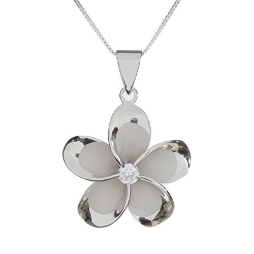 Hawaiian Silver Exchange Sterling Silver 30mm Plumeria Rhodium Plated Pendant Necklace (rhodium-plated-silver)