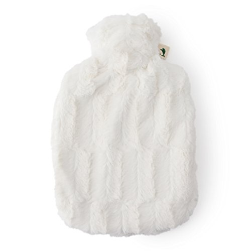 HUGO FROSCH Standard Classic Hot-Water Bottle + Fluffy Bore Cover (White) by HUGO FROSCH
