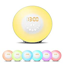 JJcall 2017 Newest Version Wake Up Light FM Radio Alarm Clock, Nature Night Light With 7 Colors, Nature Sounds, FM Radio, Touch Control and USB Charger