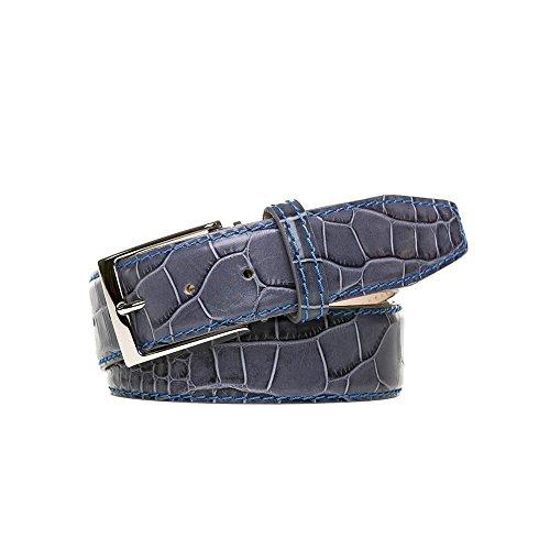 Special Edition Gray Italian Mock Gator Belt by Roger Ximenez: Bespoke Maker of Fine Leather Goods
