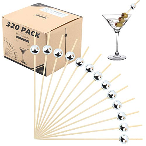 - Bamboo Cocktail Picks Skewers Toothpicks- (Pack of 320) Silver Pearl 4.75 inch Wooden Frill Tooth Picks for Appetizer Martini Food Garnish Cocktail Sandwich Fruit Kabobs - Catering Weddings Decorative