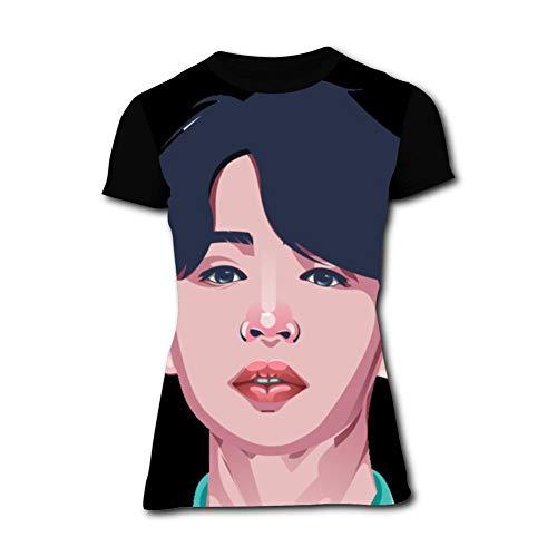 Women's T-Shirts Beauty Ji-min Short Sleeve Girl's Shirts Casual Workout Training Tee Black]()