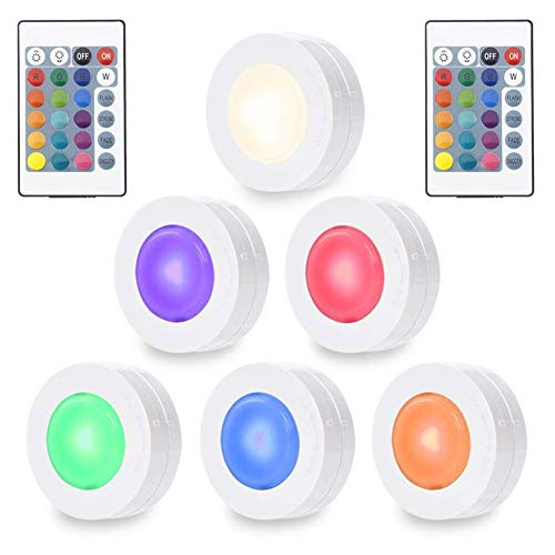 SOLLED Wireless LED Puck Lights, RGBW Color Changing Kitchen Under Cabinet Lighting with Remote Control, Battery Powered Multicolor Closet Lights, 6 Pack