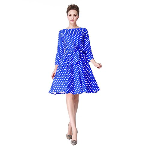 Heroecol 50s 60s Hepburn 3/4 Sleeve Style Vintage Retro Swing Rockailly Dresses Size XS Color Blue with White -