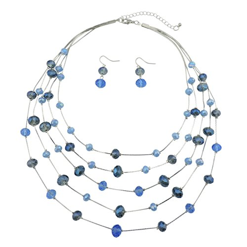 Bocar 5 Layer Handmade Beads Necklace Earring SetIllusion Necklace for Women -
