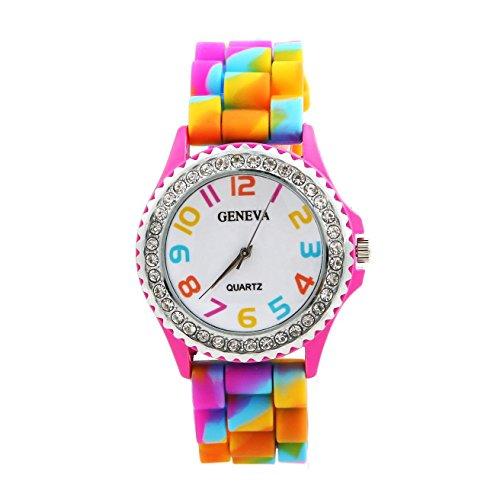 Rainbow Crystal Rhinestone Watch Silicone Jelly Link Band