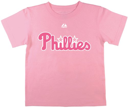 MLB Philadelphia Phillies Chase Utley #26 Juvi Girls Player Name And Number Tee By Majestic (MILKSHAKE PINK, - Chase Phillies Utley