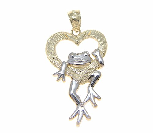 Solid 14k yellow gold heart white gold Hawaiian lucky happy frog pendant 17.85mm 14k Gold Frog