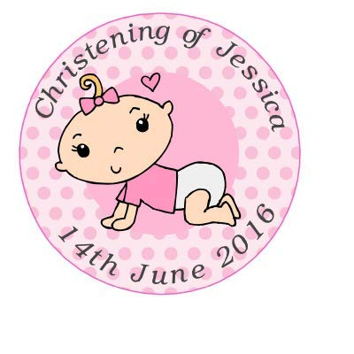 35 x Pre Cut Pink Baby Girl Personalised Christening / Dedication / Baptism / Confirmation Cup Cake - Fairy Cake Toppers / Decorations Edible Wafer Paper Goggly
