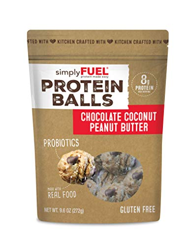 Whole Food Protein Balls, Chocolate Coconut Peanut Butter by simplyFUEL - Gluten Free - Probiotic + Protein Snack - Nutrition for Energy - 9.6 oz (Best Snacks Whole Foods)