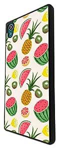 921 - Collage Fruit Watermelon Pineapple Lemon Kiwi Design For Sony Xperia Z1 Fashion Trend CASE Back COVER Plastic&Thin Metal - Black