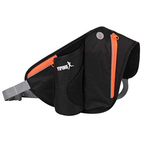 Running Belt Hydration Waist Pack with Water Bottle Holder for Men Women Waist Pouch Fanny Bag for Running Jogging Cycling (Black)