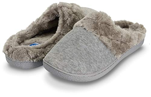 Floopi Women's Memory Foam Slippers Deluxe Clog Scuff/Mule House Slip-Ons for Indoor & Outdoor Use| Warm & Fuzzy w/Velour Fur Lining, Quilted Collar Slipper & Anti-Skid Hard Sole (L, Grey-304)