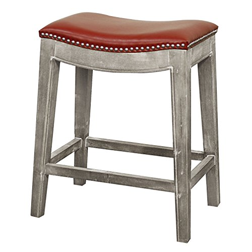 New Pacific Direct 198625B-67 Elmo Bonded Leather Counter Stool, Red