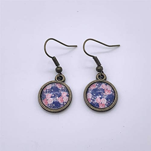 Navy and Pink Floral Glass Dangle Earrings