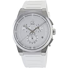 Calvin Klein Men's 'Dart' Swiss Quartz Stainless Steel and Rubber Casual Watch, Color:White (Model: K2S371L6)