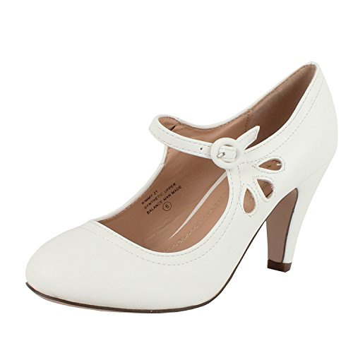 Chase & Chloe Kimmy-21 Women's Round Toe Pierced Mid Heel Mary Jane Style Dress Pumps (9 B(M) US, White Pu)]()