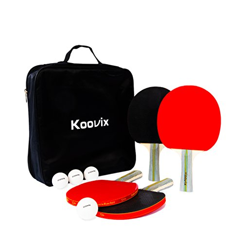 KOOVIX Ping Pong Table Tennis Set of 4 Rackets 8 Balls in a bag - 4 Ping Pong Rackets | Table Tennis Paddles 8 Balls Professional Beginner - Zippered case Easy Carry Organized Storage by KOOVIX