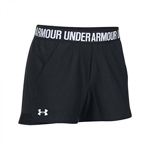 Under Armour Women's Play Up Short 20 Black / Black / White XL & Visor Bundle