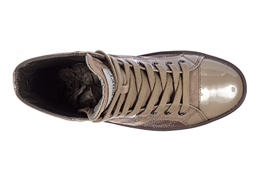 Hogan scarpe sneakers alte donna in camoscio nuove rebel r141 paillette marrone