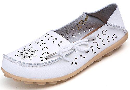 Summerwhisper Mujeres Comfy Ahueca Hacia Fuera Zapatos De Conducción Slip-on Loafers De Cuero Pisos Boat Zapatos Blanco
