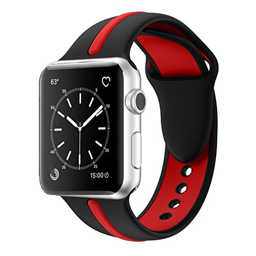 Apple Watch Band, Solomo [Sport Series] Fashion iWatch Strap Soft Durable Silicone Replacement Stripe Color Splicing Style with Women / Men Wristband for Apple Watch Nike+, Series 3 /2 /1 (42MM red) -  YuanHeng Digital Technology Co.,Ltd, AWBSSAO42BR