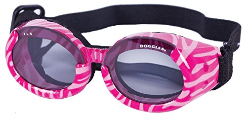 Doggles Stylish Portable Dog UV Protection sunglassIls Medium Pink Zebra Frame / Smoke Lens by Doggles