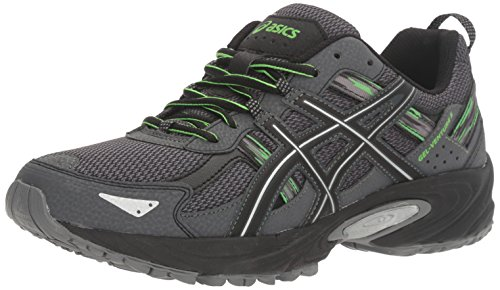 ASICS Men's Gel-Venture 5 Trail Runner, Carbon/Silver/Green Gecko, 8 M US