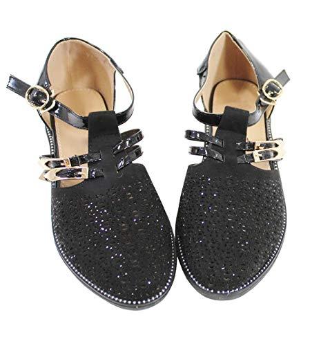 Et By matière Derbies Style Strass Black Bi Daim Shoes Cuir Femme Avec Brillant xYrZwUx
