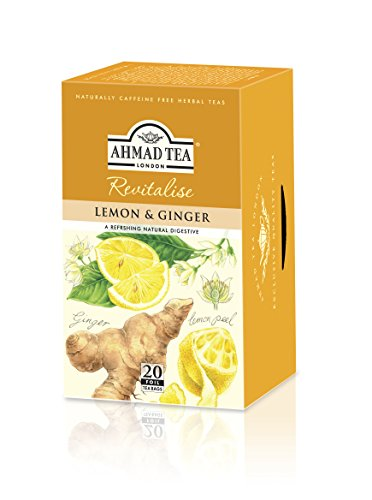 Ahmad Tea Sachet Infusion Foil-Enveloped Teabags, Lemon and Ginger, 20 Count (Pack of 6)