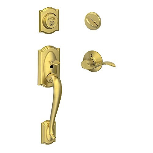 Camelot Single Cylinder Handleset and Left Hand Accent Lever, Satin Brass (F60 CAM 608 Acc LH)