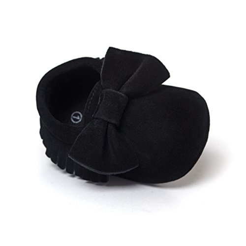 Neband Baby Prewalker Shoes, Infant Toddler Soft Sole Tassel Bowknot Moccasinss PU Leather Crib Shoe Black (Black Nappa Footwear)