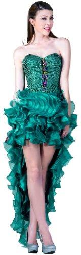 Meier Women's High Low Strapless Beaded Ruffle Prom Evening Dress-6