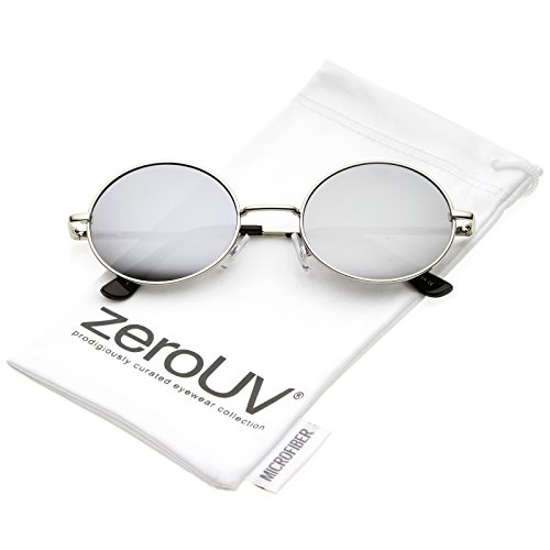 zeroUV - Classic Lightweight Slim Arms Colored Mirror Flat Lens Oval Sunglasses 50mm (Silver / Silver - Sunglasses Asos Men