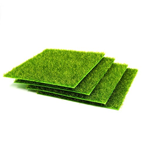 4 Pcs Life-like Fairy Artificial Grass 6''x 6'' Miniature Ornament Garden Dollhouse ()