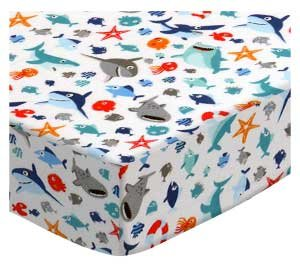 SheetWorld Fitted Playard Sheet Fits BabyBjorn Travel Crib Light 24 x 42 - Sharks - Made in USA by SHEETWORLD.COM