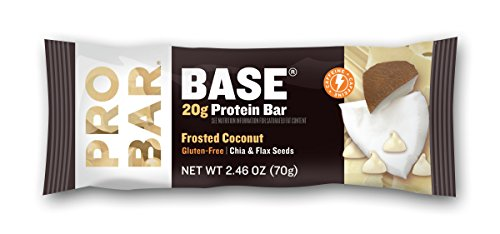 PROBAR - Base 2.46 Oz Protein Bar, Frosted Coconut, 12 Count - Gluten-Free, Plant-Based Whole Food Ingredients