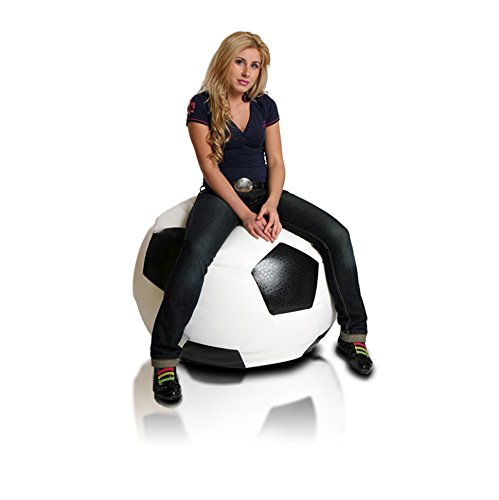 Turbo BeanBags Soccer Ball Style Bean Bag Chair, Large, White/Black
