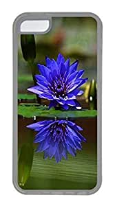 iPhone 5C Case, Customized Protective Soft TPU Clear Case for iphone 5C - Blue Lotus Cover
